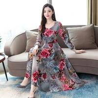 long sleeved chiffon dress 2021 new womens early autumn crushed flower fashion temperament medium length dress