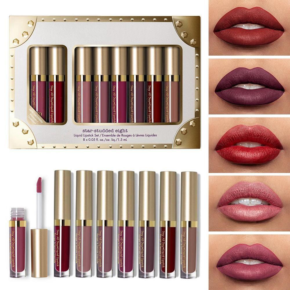 Liquid Matte 8Pcs Lipstick Set Waterproof Makeup Lip Gloss Comfortable Long-lasting Lipgloss Kit Cosmetics недорого