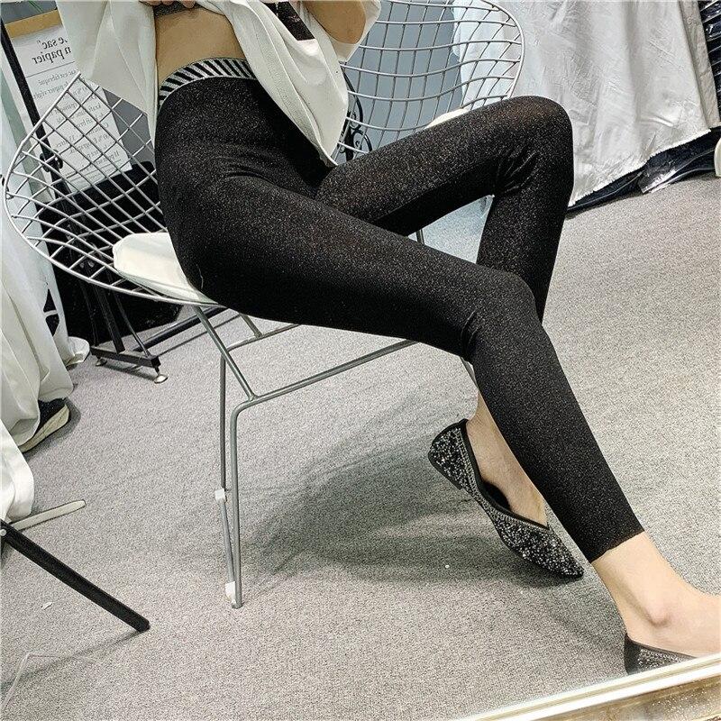 Mallas deportivas para Mujer, Pantalones brillantes, sexys, De cintura alta, para primavera...