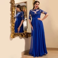 eightale mother of the bride dresses blue half sleeves appliques lace long chiffon custom made evening dress for party gown