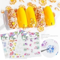 nail stickers embossed 5d flowers leafs designs back glue nail decals decoration tips for beauty salons