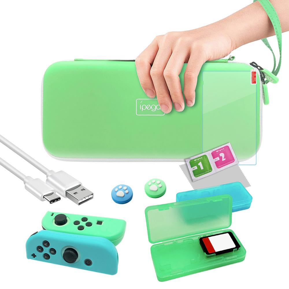 Nintendo Switch 10 en 1, conjunto de bolsa de accesorios para Nintendo Switch, Estuche de transporte de viaje, Protector de pantalla, película de carga, Cable verde