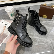 Zipper Lady Ankle Boots Women Motorcycle Boots Platform Flat Round Toe Shoes 2021 Autumn New Martin