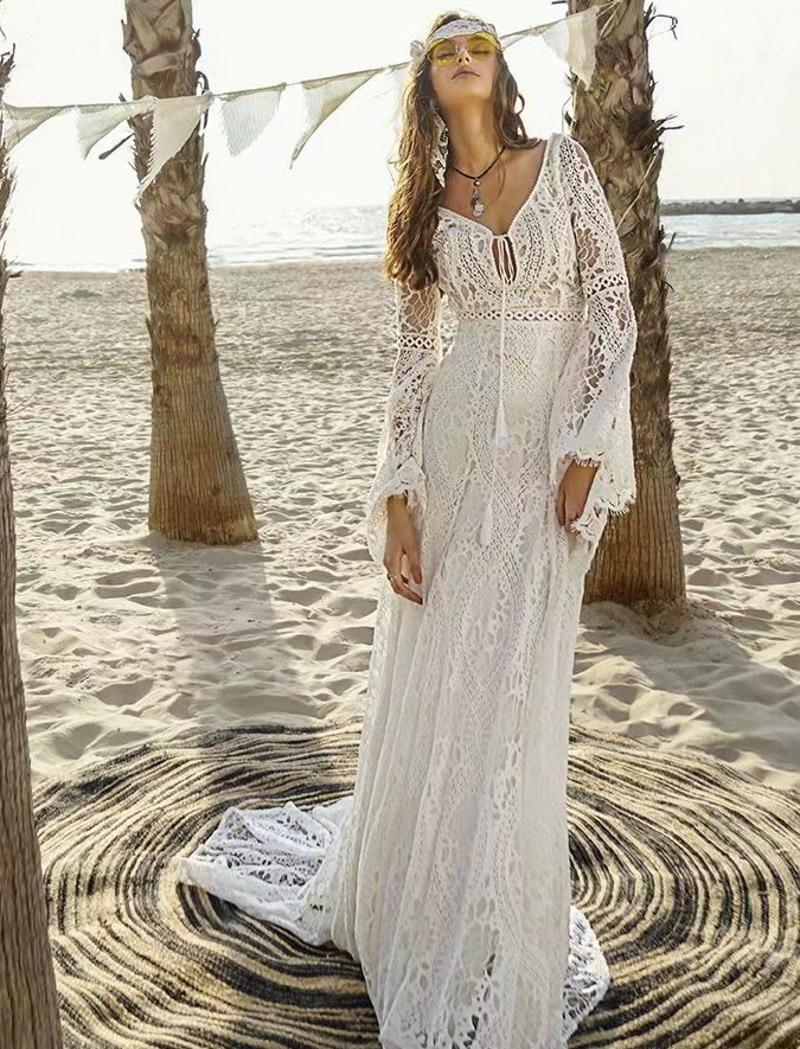 Vestidos De Novia bohemios con manga acampanada y escote en V, vestido...