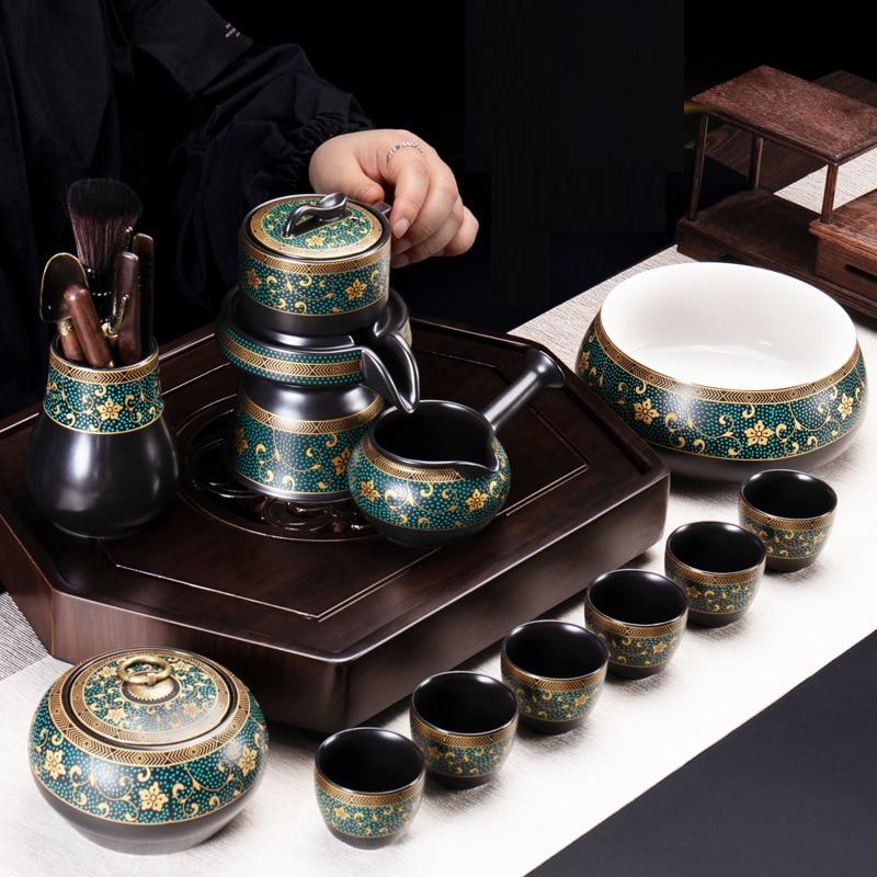 9 قطعة التذهيب الرجعية Procelain teort مجموعة اليابانية إبريق شاي من السيراميك خمر فنجان شاي مقاومة للحرارة درينكوير مجموعات
