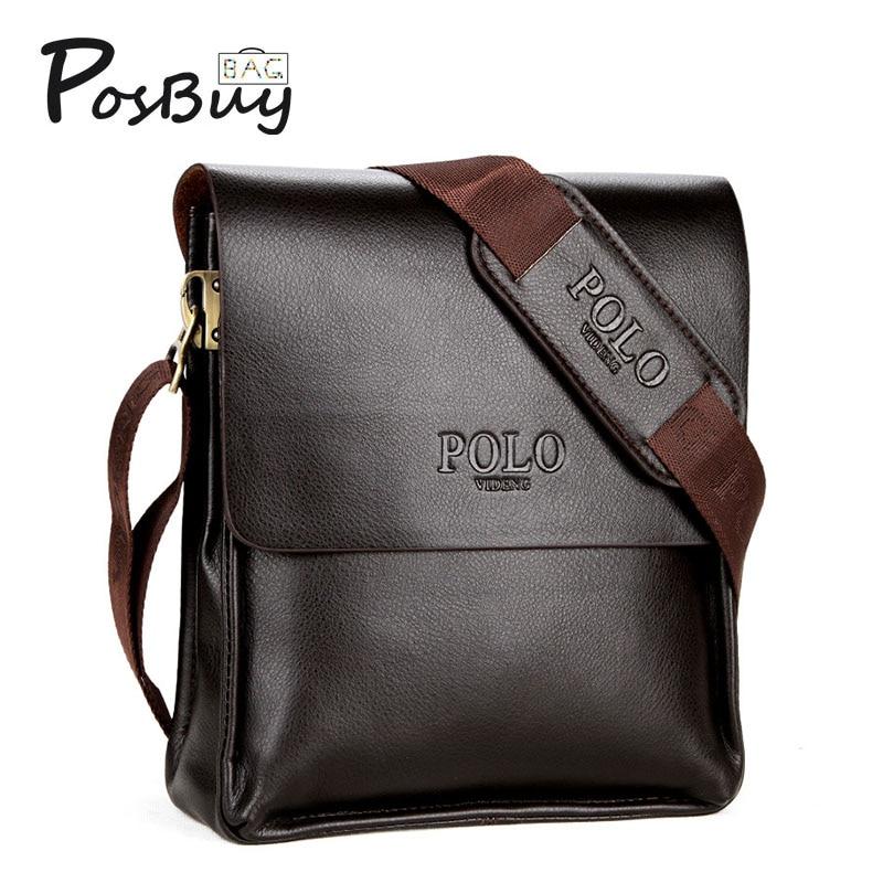 PosBuy Vintage Men's Satchel Shoulder Bags PU Leather Handbag Waterproof Business Casual Cross Body Messenger Party Bag for Male