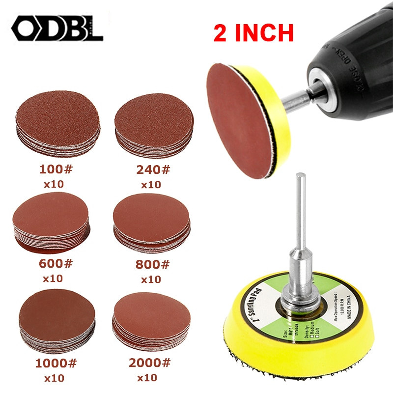 60pcs 100/240/600/800/1000/2000 Grits Sanding Disc Set 2 Inch 50mm+ Loop Sanding Pad with 3mm Shank For Polishing Dremel Tools недорого