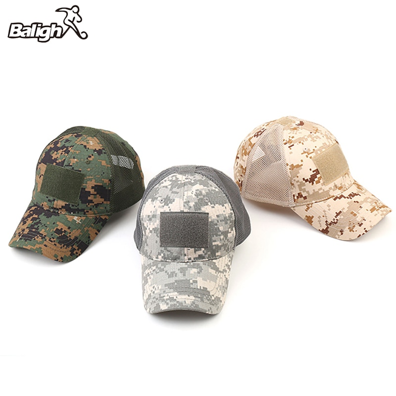 Balight Tactical Army Hat Outdoor Sport Snapback Stripe Military Hats Camouflage Hat Simplicity Army Camo Hunting Mesh Cap