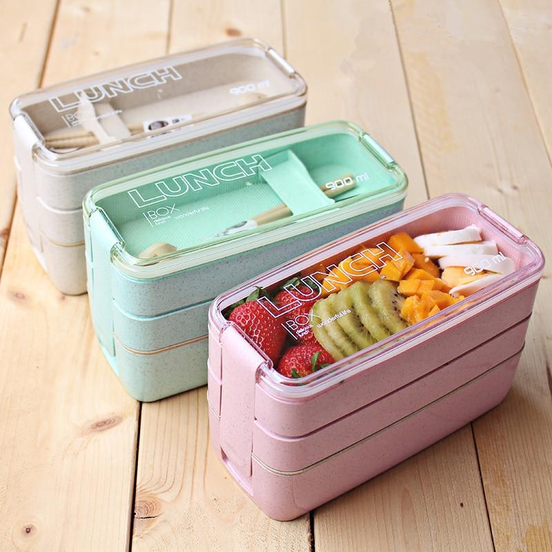 AliExpress - Kitchen 900ml Microwave Lunch Box Wheat Straw Dinnerware Food Storage Container Children Kids School Office Portable Bento Box