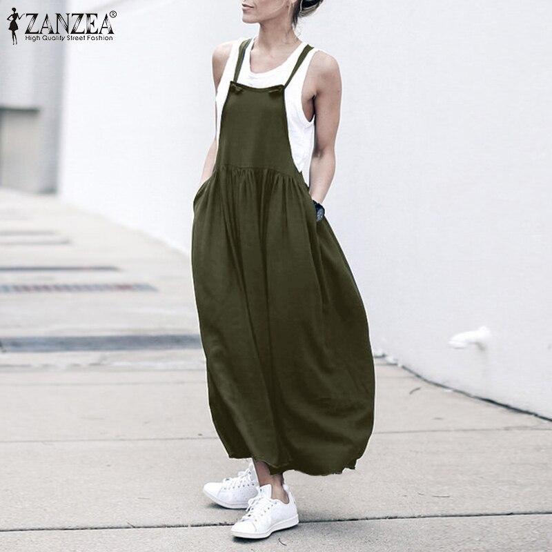 2020 ZANZEA verano suelto algodón Mujer Vestido suelto holgado Vestido de verano Vintage largo Maxi bolsillos Vestido Kaftan vestidos de talla grande