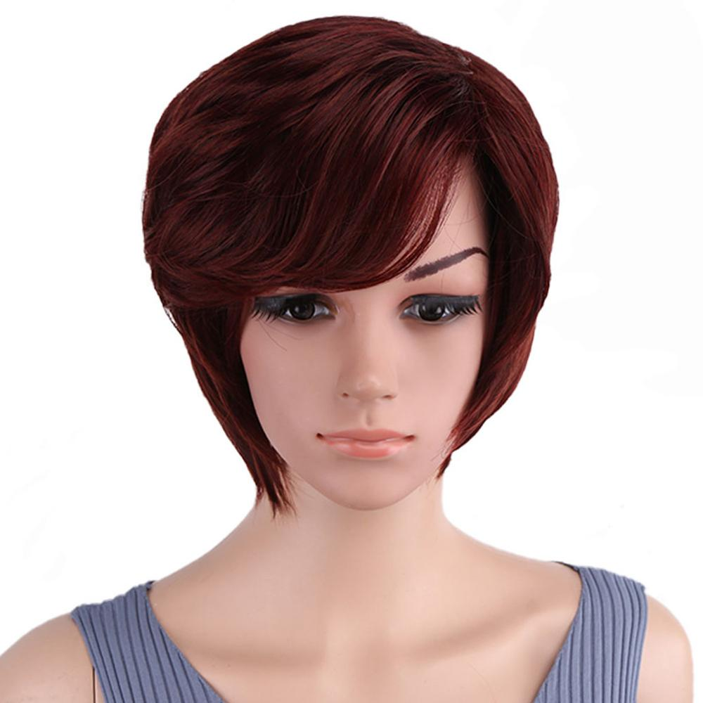 Short Wig Side Bang Bob Red Synthetic Wigs black Soft Layered Hair Wig Short Pixie Cut Wigs for Women Natural Wigs Cosplay fashion side bang short straight orange charming kousaka honoka cosplay wig with double chignons