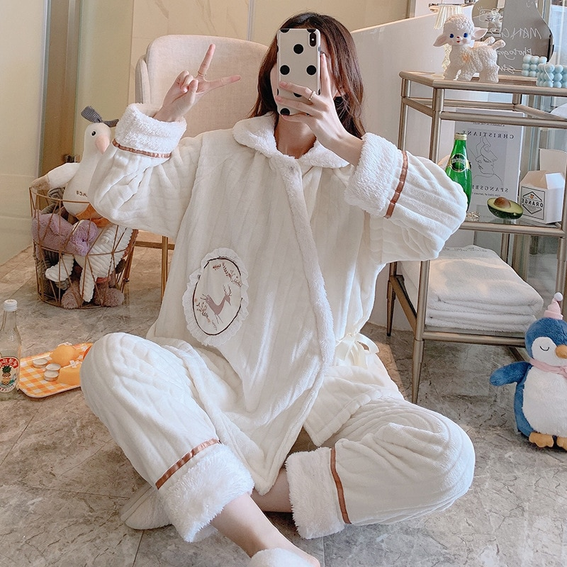 Confinement Clothing Autumn & Winter Solid Color out of the he fu kuan Lactation Garment Maternal Tracksuit Pajamas Pregnant Wom enlarge