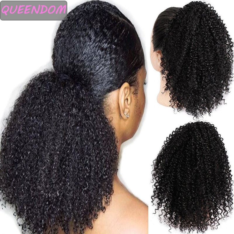Afro Kinky Curly Drawstring Ponytail Hair Extensions Clip In Pony Tail Ombre Synthetic Short African American Hairpieces Brown