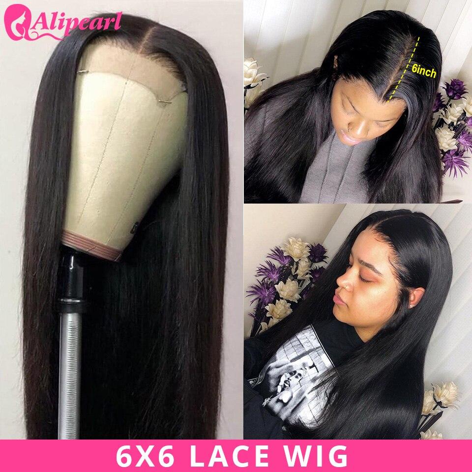 AliPearl Haar 6x6 Spitze Verschluss Perücke Menschliches Haar Perücken Für Schwarze Frauen Brasilianische Gerade Spitze Perücke 150 180 dichte Ali Perle Haar Perücke