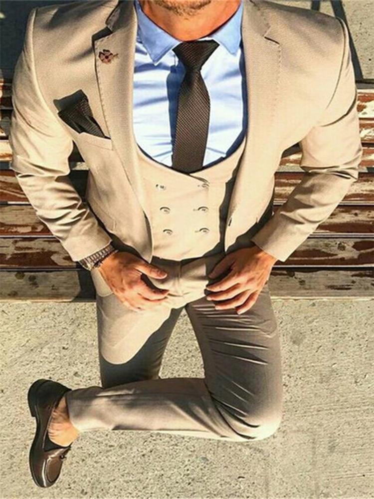 Smolking Noivo Terno-بدلة سهرة رجالية كلاسيكية ، نحيفة ، مزدوجة الصدر ، غير رسمية ، لون بيج ، حفلة موسيقية