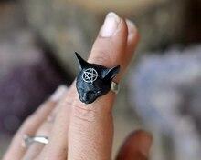 Handgemaakte 3D Pentagram Kat Ring, Zwarte Kat Ring, Witchy Kat Sieraden, Dames Accessoires