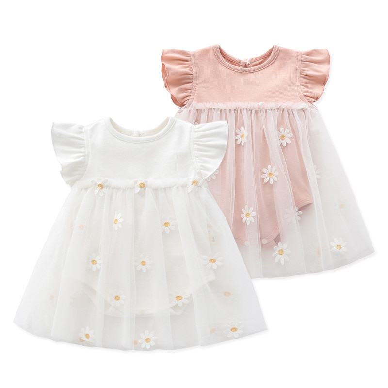 Baby Girls Bodysuits Clothes Cute Summer Short Sleeve Newborn Infant Bebes Onesie Jumpsuit Dress One Piece Toddler Kids Princess