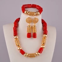 swell red nigerian wedding coral beads necklace jewelry set african necklace sets for women c43 03