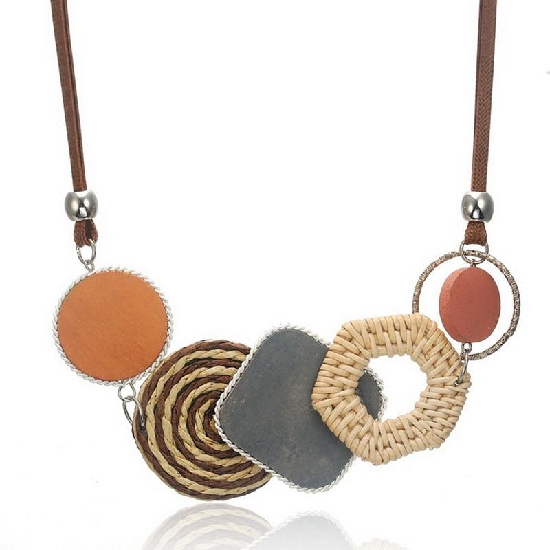 Collares colgantes baratos hechos a mano collar de fibras de plantas para mujer bambú tejido declaración collares para regalo de joyería para novia