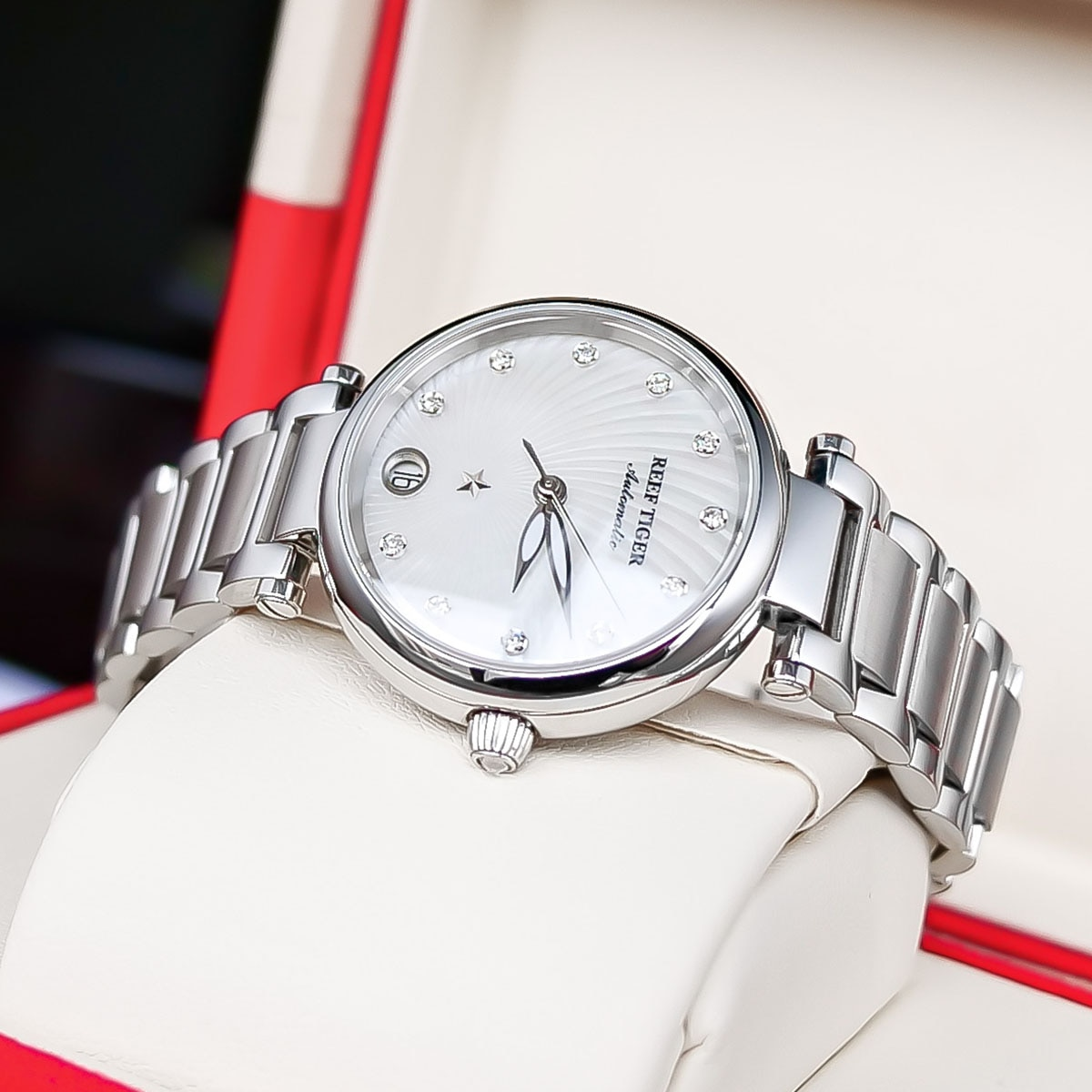 2021 New Reef Tiger/RT Top Brand Luxury Fashion Watches Women Stainless Steel Diamond Automatic Wristwatch reloj mujer RGA1590 enlarge