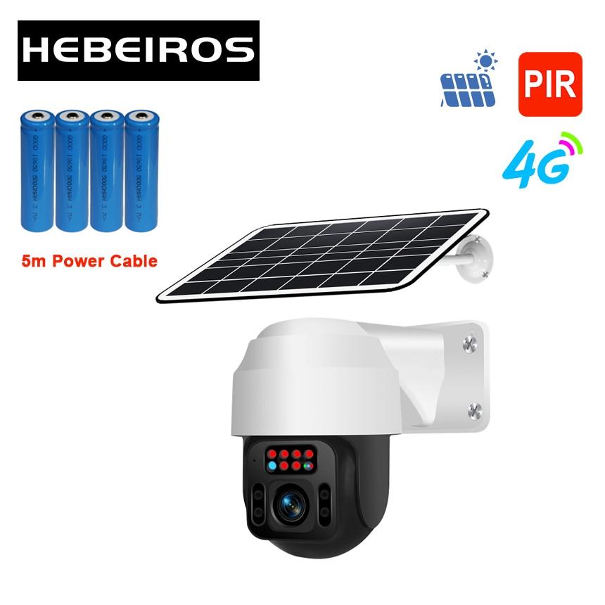 Hebeiros 360 Outdoor GSM 4G SIM Card PTZ Camera 1080P Solar Power Battery IP Wifi Camera Audio Wireless Surveillance CCTV Camera