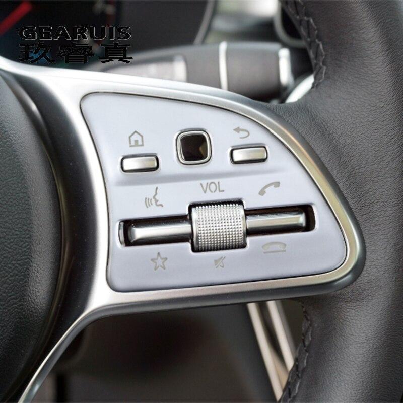 Estilo de coche para Mercedes Benz A B C E clase W177 W205 W213 W247 W167 GLB GLS GLC GLE botones de volante cubierta pegatinas embellecedor
