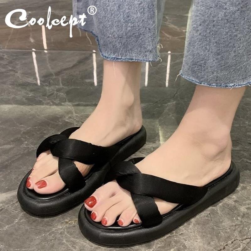 Coolcept, zapatos de playa, sandalias para mujer, zapatillas deslizantes Med, plataforma de moda Sabot 2020, suave tela plana de lujo, tamaño femenino 35-39
