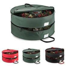 Double-Layer Senior Christmas Wreath Storage Bag With Compartment Handle Christmas Wreath Storage Ba