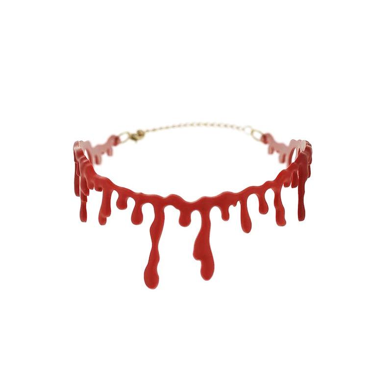 1 piezas decoración de Halloween Horror sangre por goteo collar falsa sangre vampiro elegante traje rojo collares accesorios de fiesta