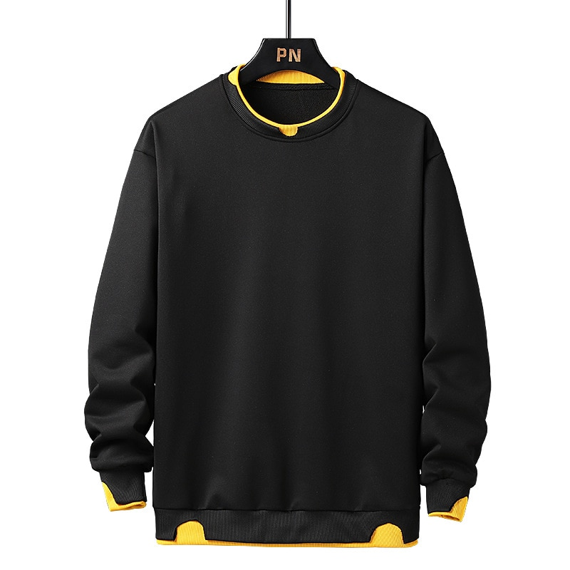 Winter Man Pullover Streetwear Hip-hop Style Harajuku Solid Color Style with Inside Shirt Two Piece Style Pullover Walking
