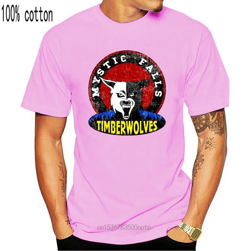 MYSTIC FALLS TIMBERWOLVES koszula-wampir drużyna piłki nożnej pamiętniki znak Logo Cartoon t SHIRT mężczyźni Unisex nowa modna koszulka (1)