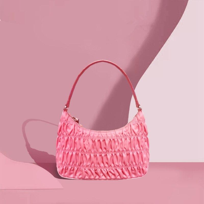2020 Luxury Design Women Hobo Pleated Bag Summer Underarm Shoulder Bag Candy Color Nylon Handbag Multicolor Flap Purses Tote