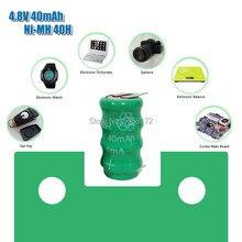 4.8V 40Mah Ni-Mh Oplaadbare Batterij Knop W/Tabs Voor Plc Data Backup Power