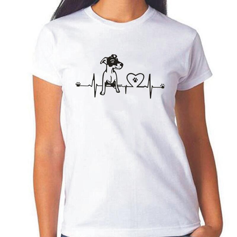 Camiseta divertida de las mujeres del corazón de Jack Russell de la manera camiseta de la impresión del Animal del verano camiseta Casual de las mujeres del Hipster del perro de las mujeres Tops