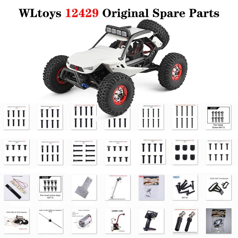 Wltoys 12429 Original Parts 12428 RC Car Spare Part Screw Differential Servo Nut Motor Shell Receiver printer part servo motor without sensor 55zytd51