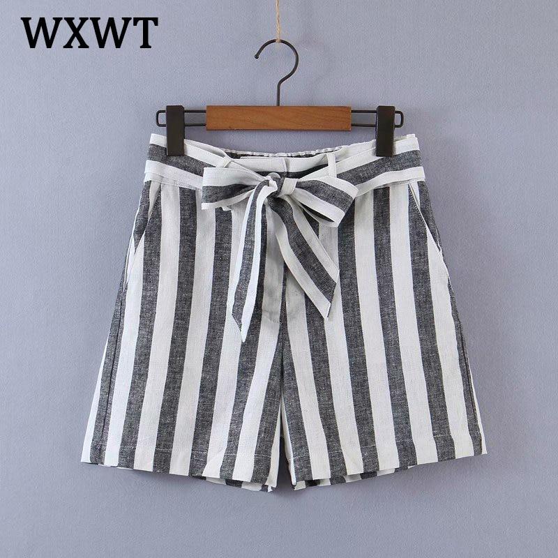 WXWT 2021 Women Striped Sashes Shorts High Waist Pockets Female Retro Basic Casual Shorts Pantalones Cortos HY2107