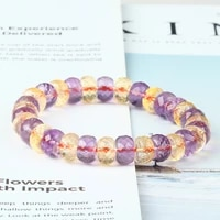 genuine natural ametrine bracelet for women lady 6x4mm charms yellow purple gemstone stretch crystal bracelet aaaaa