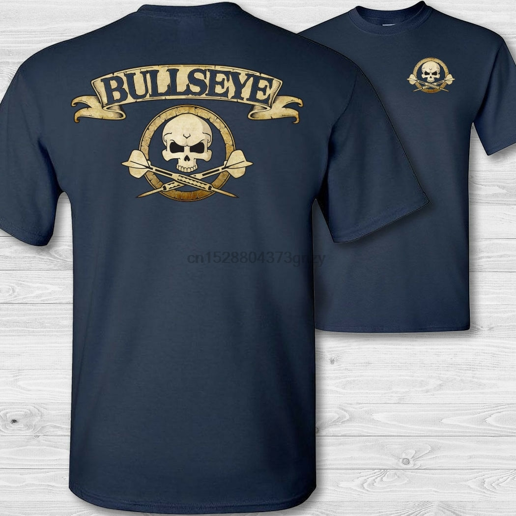 Darts crossbones t-shirt bullseye skull shirt throwing darts badge tee shirt Double Side