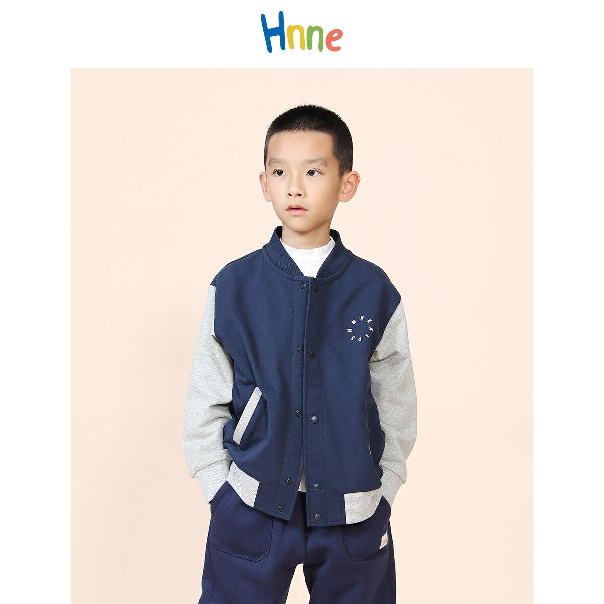 Hnne 2021 Autumn New Baseball Jackets Children 100% Cotton Contrast Color Bomber Coats Unisex Boys Girls Outerwear