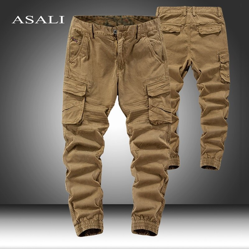 Army Trousers Men's Cargo Pants Casual Multi Pockets Military Straight Male Track Joggers Long Outwear Pants Men 2021 Sweatpants