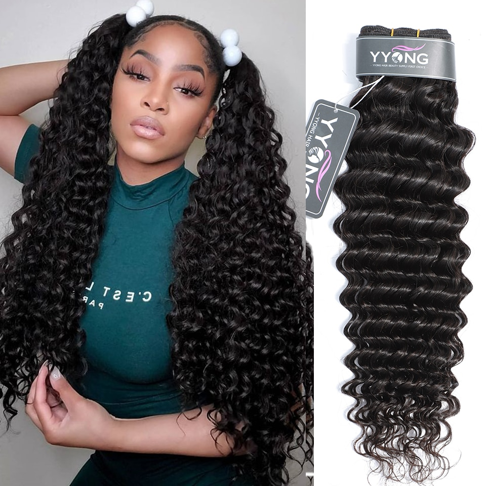 Yyong Peruvian Deep Wave Hair Bundles 3 Or 4 Bundle Deal 100% Human Weave 8-30Inch Remy Extension
