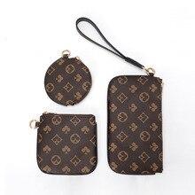 Designer three-piece print luxury clutch fashion multifunctional card bag lady long wallet high qual