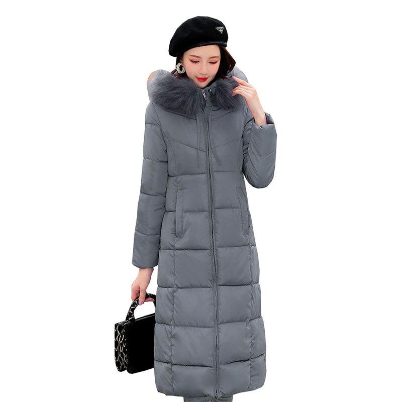 X-Long Elegant Woman Jacket Hooded Parka Down Cotton Padded 2021 Winter Women Snow Coat Casual Warm