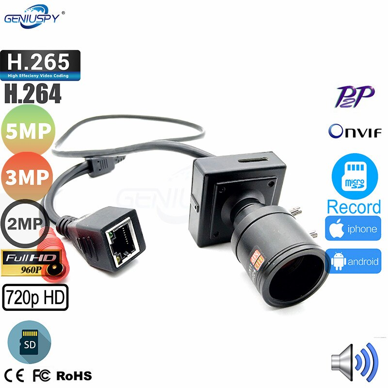 1MP 1.3MP 2MP 3MP 5MP HD Mniature Size Design 2.8-12mm Manual Zoom Lens TF Card Slot Mini IP Camera Audio 12V Home Security Use