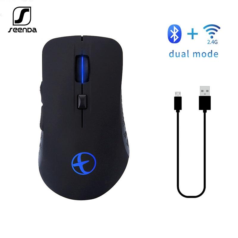 Ratón SeenDa silencioso Bluetooth recargable modo Dual Bluetooth 2,4g ratón inalámbrico para Laptop Mouse para video juegos de PC