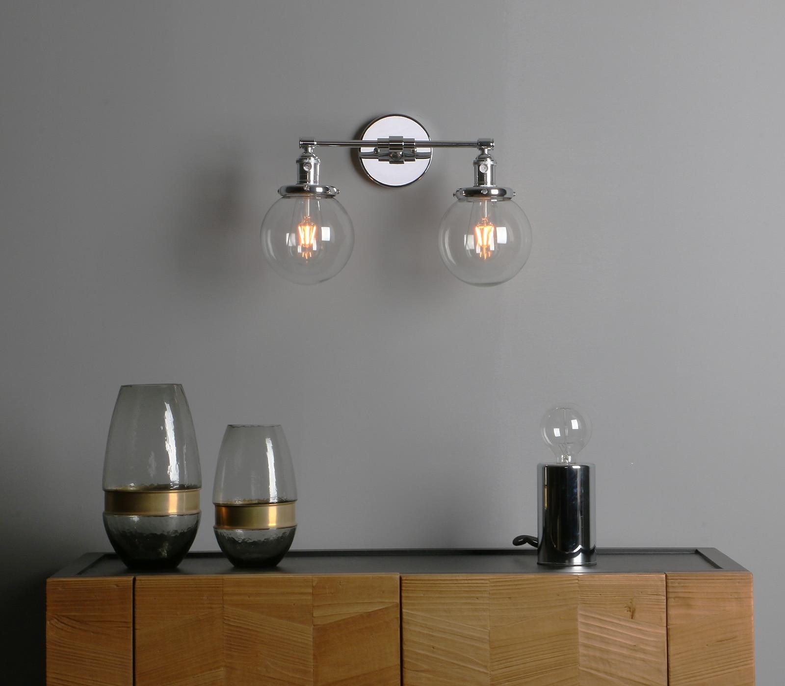Permo Vintage 5.9'' Glass Ball Shade Loft Globe Glass Double Heads Wall Light Retro Wall Lamp E27 Sconce Fixtures for Home Decor