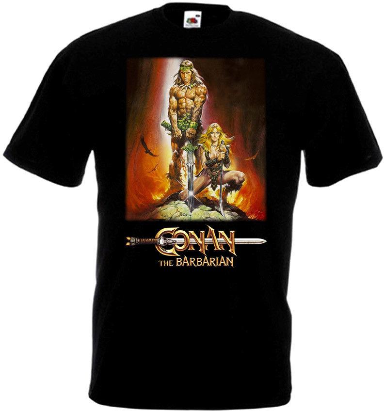 Conan der Barbar v3 T-shirt schwarz poster alle größen Männer Frauen Unisex Mode t-shirt Kostenloser Versand