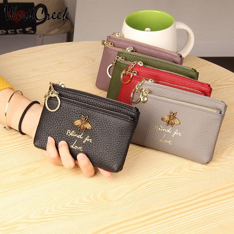 Véritable porte-monnaie en cuir femmes Mini changement sacs à main enfants monnaie poche portefeuilles porte-clés porte-fermeture éclair poche nouveau