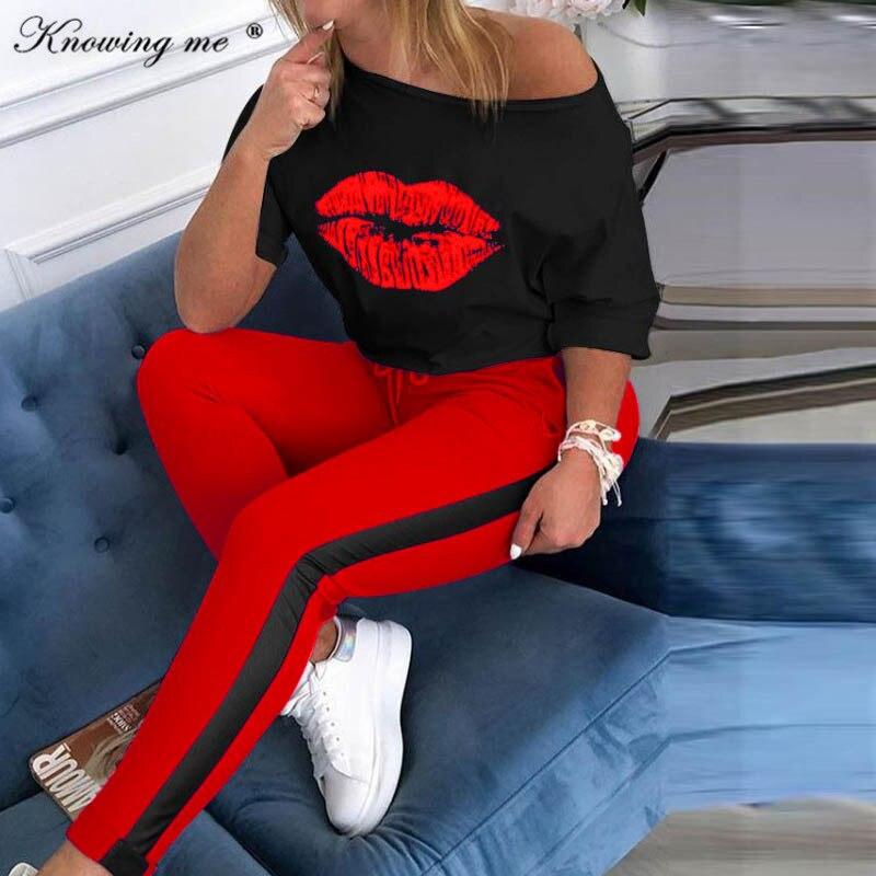 5XL женский сексуальный спортивный костюм с открытыми плечами и принтом в виде губ, комплект из двух предметов с топом и принтом якоря, женски...