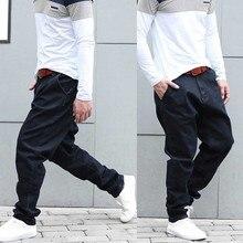 Moda Harem dżinsy męskie casualowe spodnie jeansowe luźne Baggy Hip Hop biegaczy spodnie jeansowe czarne spodnie mężczyzna ubrania